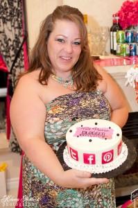 Stephanie with the yummy cake!